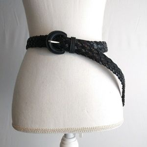 Honor womens black leather braided belt
